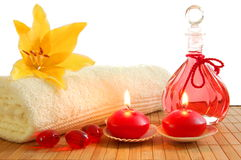 Red massage still life. With towel candles and copyspace Stock Photography