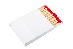 Red matches in a white box Stock Photo