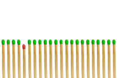 Red matchstick loser concept. Isolated on white background Stock Photo
