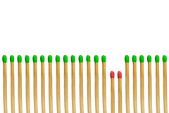 Red matchstick loser concept. Isolated on white background Royalty Free Stock Photography