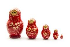 Red matrioshka. Doll isolated on white background Royalty Free Stock Images