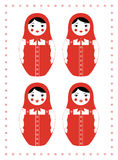 Red matryoshka four emotions. Vector illustration of  a russian nesting doll Matryoshka. Four different facial expressions - smiling, crying, mocking and angry Stock Photos