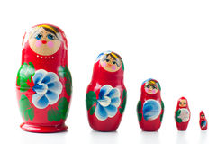 Red matryoshka Russian dolls Stock Photo
