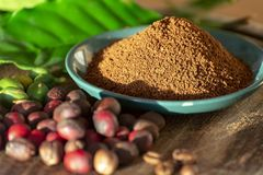 Red mature and dried organic arabica coffee beans, fresh ground coffee, bio coffee farm. Red mature and dried organic arabica coffee beans, fresh ground coffee stock images