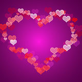 Red And Mauve Hearts Background Stock Photo