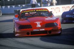 A red Mazda Trans AM in the Toyota Grand Prix Car Race in Long Beach, CA Stock Photo