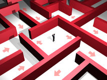 Red maze. 3d man lost in the midle of a red maze Stock Images