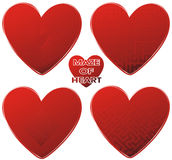 Red maze hearts set Royalty Free Stock Image