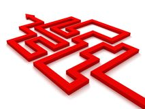 Red maze labyrinth arrow concept on white Stock Photography