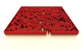 Red maze with subtle illumination Stock Photo