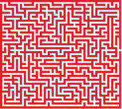 Red Maze. Vector illustration of red maze isolated on white background Royalty Free Stock Photo