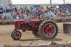 A red McCormick Deering Farmall Tractor. DE PERE, WI - AUGUST 18: A red McCormick Deering Farmall Tractor competing at the Tractor Pull event at the Brown County Stock Images