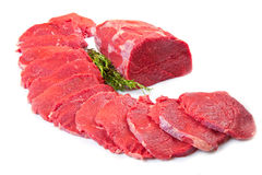Red meat chunk and steak isolated over white background Stock Images