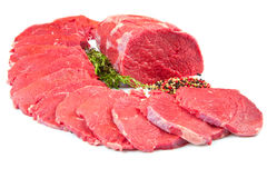 red meat chunk and steak isolated over white background Stock Photo