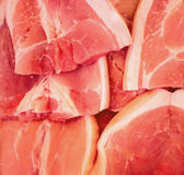 Red meat closeup photo. Tasty fresh meat sliced on supermarket display. Protein nutrition or cooking ingredient. Beef or pork red meat. Raw meat with white fat Stock Photo