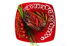 Red meat and peppers Royalty Free Stock Photography