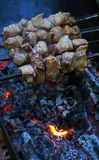 Red meat on skewers above charcoal grill Royalty Free Stock Photos