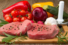 Red meat with vegetables Royalty Free Stock Photos