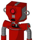 Red Mech With Mechanical Head And Round Mouth And Cyclops Eye. Portrait style Red Mech With Mechanical Head And Round Mouth And Cyclops Eye stock illustration