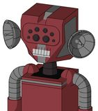 Red Mech With Mechanical Head And Teeth Mouth And Bug Eyes. Portrait style Red Mech With Mechanical Head And Teeth Mouth And Bug Eyes stock illustration