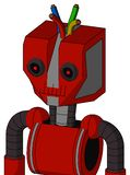 Red Mech With Mechanical Head And Toothy Mouth And Black Glowing Red Eyes And Wire Hair. Portrait style Red Mech With Mechanical Head And Toothy Mouth And Black vector illustration
