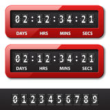 Red mechanical counter - countdown timer. Illustration for the web Stock Image