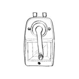 Red Mechanical Sharpener Of Pencil Hand Drawn Sketch Isolated On Royalty Free Stock Images
