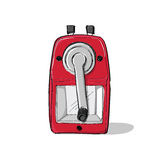 Red mechanical sharpener of pencil hand drawn sketch isolated on Stock Photo