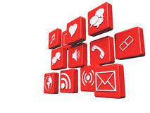 Red Media Icons Royalty Free Stock Images