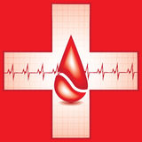 Red medical background with drop. Of blood and heart beat Stock Photo