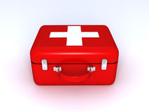 Red medical bag with a white cross. 3d vector illustration
