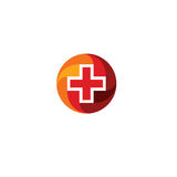 Red medical cross logo. Round shape logotype. Religious sign. Doctors office emblem. Ambulance label. First aid symbol. Plus button. Vector illustration Stock Photography