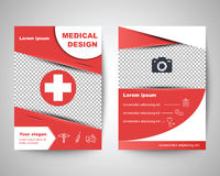 Red medical flyer layout template Stock Photo