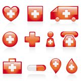 Red medical icon set. Collection of red medical icons isolated on white background, vector illustration Royalty Free Stock Photography