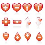Red medical icon set. Collection of red medical icons isolated on white background, vector illustration Stock Image
