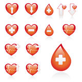 Red medical icon set. Low and high blood pressure, vector medical heart icons set, isolated on white background vector illustration