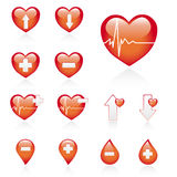 Red Medical Icon Set Royalty Free Stock Photos