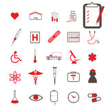 Red Medical Icons Stock Photo