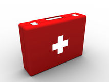 Red medical KIT. BOX on white background Stock Photography