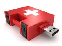Red medical kit concept computer help USB drive. 3d Stock Photos