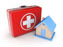 Red medical suitcase and small house. Isolated on white background.3d rendered Royalty Free Stock Photos