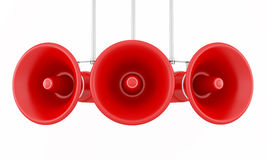 Red megaphone. Isolated on white background - rendering Stock Photos