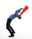 Red Megaphone. African-american business man yelling in a red megaphone Royalty Free Stock Photography
