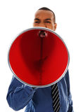 Red Megaphone. African-american business man yelling in a red megaphone Stock Photos