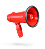 Red megaphone isolated on white background. Royalty Free Stock Photo
