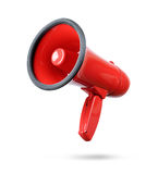 Red megaphone isolated on white background. File contains a path to isolation. Stock Photo