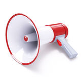 Red megaphone with red button Stock Photography