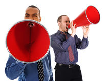 Red Megaphone Team. African-american business man yelling in a red megaphone Stock Images