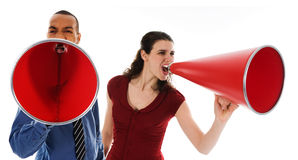 Red Megaphone Team. Business team yelling in a red megaphone Stock Image