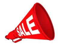Sale. Red labeled megaphone vector illustration